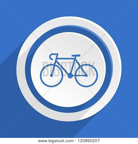bicycle blue flat design modern icon