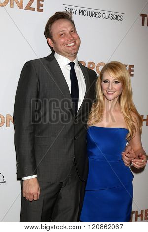 LOS ANGELES - MAR 7:  Winston Rauch, Melissa Rauch at the The Bronze Premiere at the SilverScreen Theater at the Pacific Design Center on March 7, 2016 in Los Angeles, CA