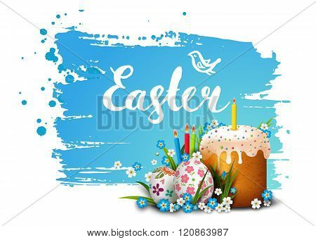 Template card with Easter colorful eggs