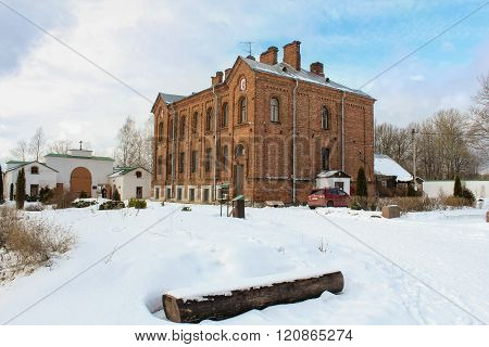 Staraya Ladoga, Russia - 23 February, Refectory Staraya Ladoga Holy Assumption nunnery, 23 February 2016. Tourist places in the great ancient route from the Vikings to the Greeks.Staroladozhsky Holy Assumption nunnery. Gold ring of Russia.
