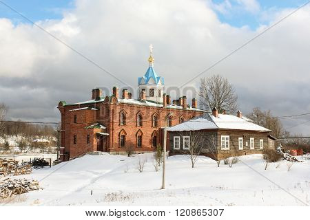 Staraya Ladoga, Russia - 23 February, Church of red brick, 23 February 2016. Tourist places in the great ancient route from the Vikings to the Greeks.Staroladozhsky Holy Assumption nunnery. Gold ring of Russia.