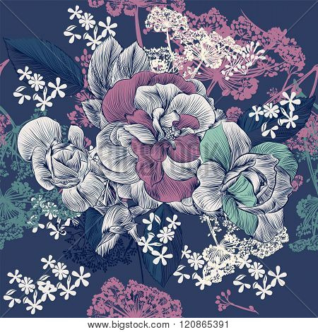 Vector Seamless Pattern With Rose Flowers In Engraved Style For   Design