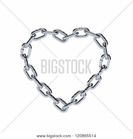 Chain Chrome Metal Frame Heart Shape