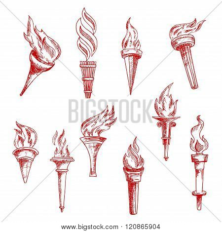 Red flaming torches sketch icons