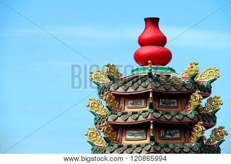 Red Calabash Statue In Chinese Temple