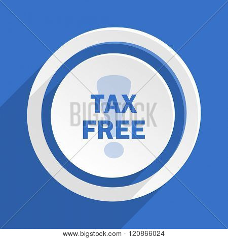 tax free blue flat design modern icon