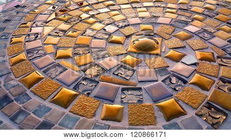Spiral Pattern Golden Mosaic Floor