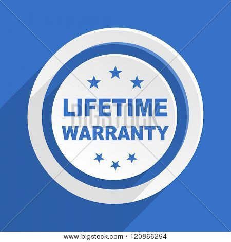 lifetime warranty blue flat design modern icon