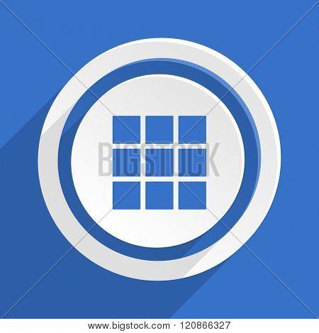 thumbnails grid blue flat design modern icon