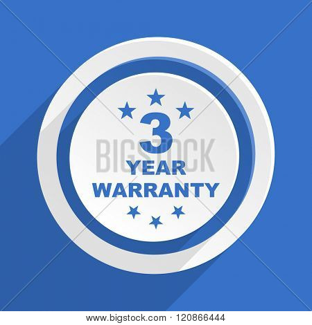 warranty guarantee 3 year blue flat design modern icon