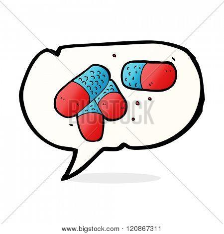 cartoon painkillers with speech bubble