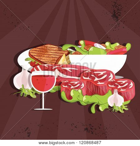 Steak House Vector Illustration With Meat,wine And Salad