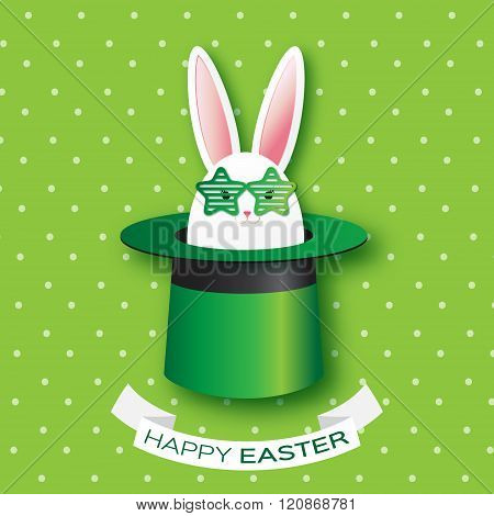 Origami Green Greeting card with Happy Easter - with white Easter rabbit with green star sunglasses.