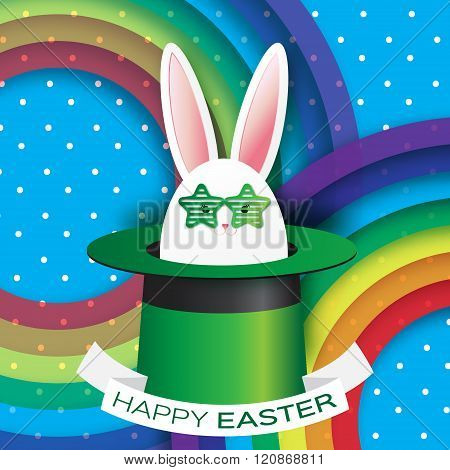 Origami Blue Greeting card with Happy Easter - with Black Easter rabbit with green sunglasses.