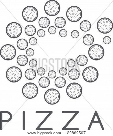 Circle Of Pizza Vector Design Template . Concept Of Graphic Clipart Work