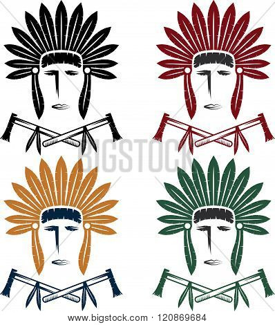Set Of Native American Chief Man In Tribal Headdress With Tomahawks