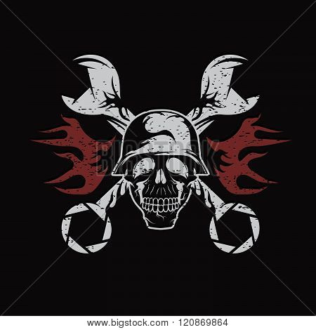 Grunge Bikers Theme Emblem With Skull,flames And Wrenches
