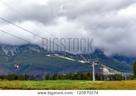 Cableway In Mountains And Yellow Fields,  Autumn Landscape,  Cloudy Sky