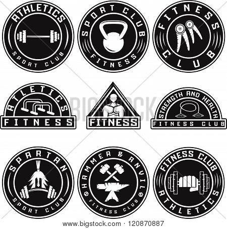 Set Of Various Fitness Labels And Design Elements