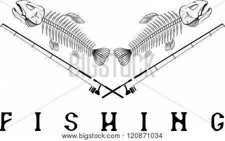 Vintage Fishing Emblem With Skeleton Of Trout