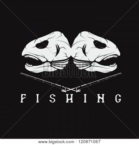 Vintage Fishing Emblem With Skulls Of Trout