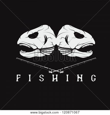 Vintage Fishing Emblem With Skulls Of Trout