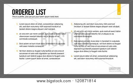 Ordered List Presentation Slide