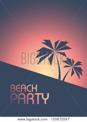 Beach party poster in 1980s retro style colors. Summer sunset flyer with palm trees.
