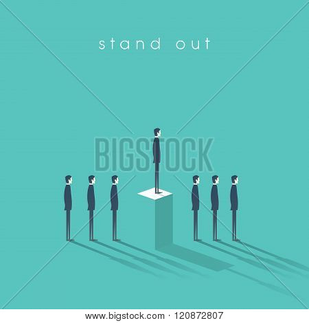 Standing out from the crowd business concept with businessmen in line. Talent or special skills symb