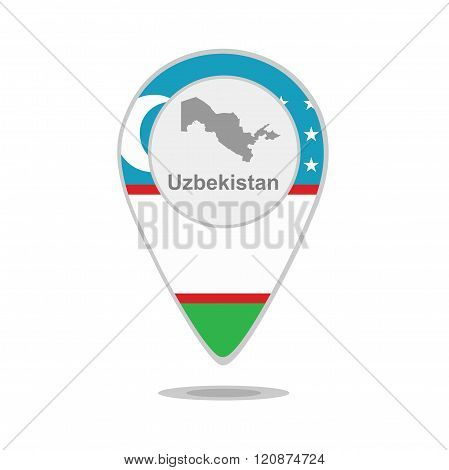 A pointer with map and flag of Uzbekistan