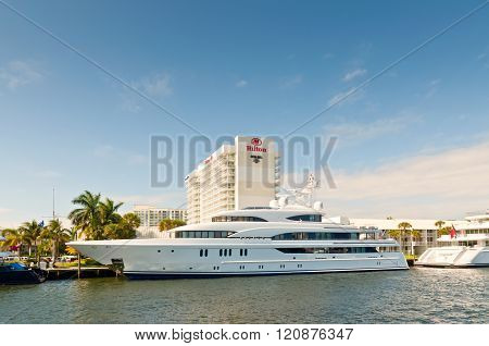 Motor Yacht Aurora At Waterfront Side In Fort Lauderdale