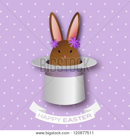 Origami Purple Greeting card with Happy Easter - with Chocolate Easter rabbit and flowers.