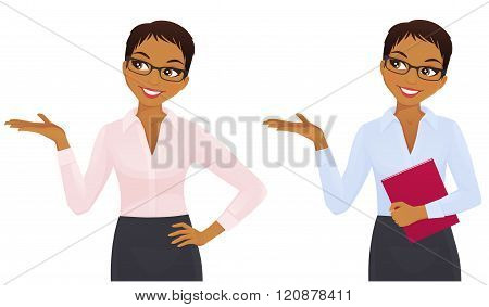 Business woman showing looking up