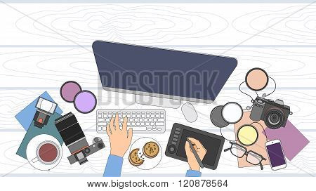 Designer Photographer Workspace Desk