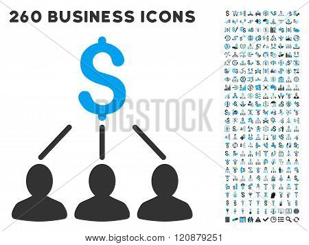 Shareholders Icon with Flat Glyph Set