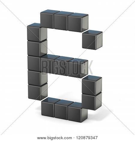 8 bit font. Number 6. 3D