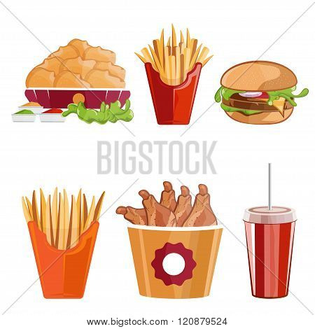 Fried Chicken,fries And Burger Fast Food Vector Illustration