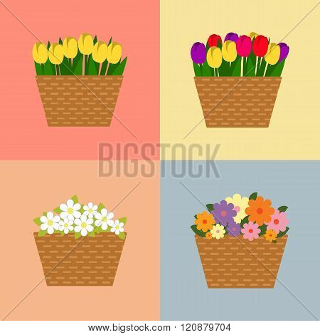 Set of baskets of flowers isolated over white. Wattled basket with beautiful flowers. Collection of spring and summer colorful flowers in beige basket. Vector collection