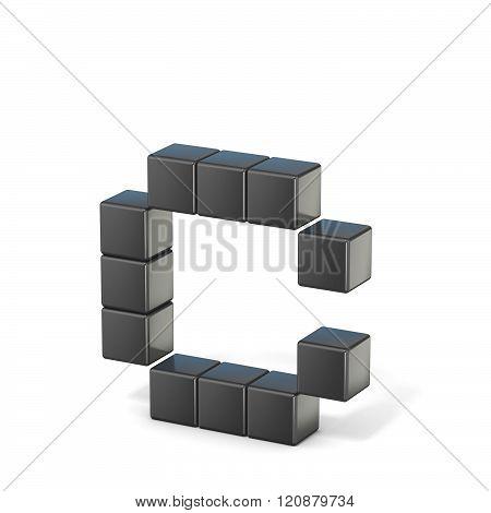 8 bit font. Lowercase letter C. 3D render illustration isolated on white background