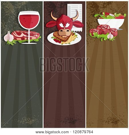 Steak House Vector Banners With Bull,meat,wine And Salad