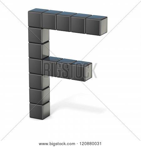 8 bit font. Capital letter F. 3D render illustration isolated on white background