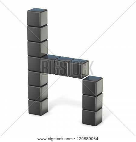 8 bit font. Lowercase letter H. 3D render illustration isolated on white background