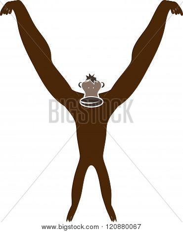 Monkey Abstract Vector Illustration . Concept Of Graphic Clipart Work