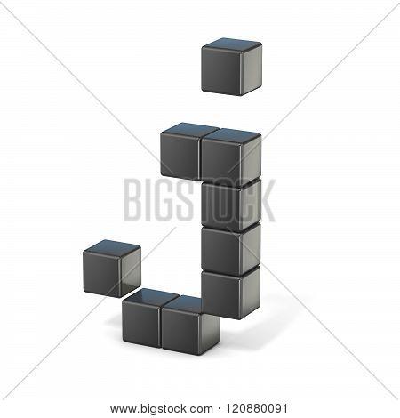 8 bit font. Lowercase letter J. 3D render illustration isolated on white background