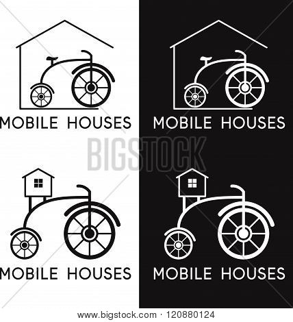 Bicycle In Vector Design Of Mobile Houses