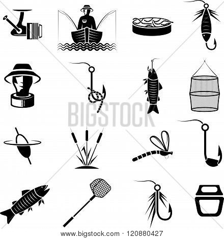 Vector Set Of Icons On Fishing Theme
