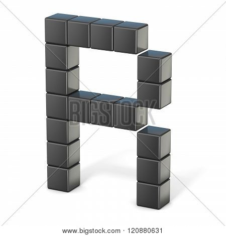 8 bit font. Capital letter R. 3D render illustration isolated on white background