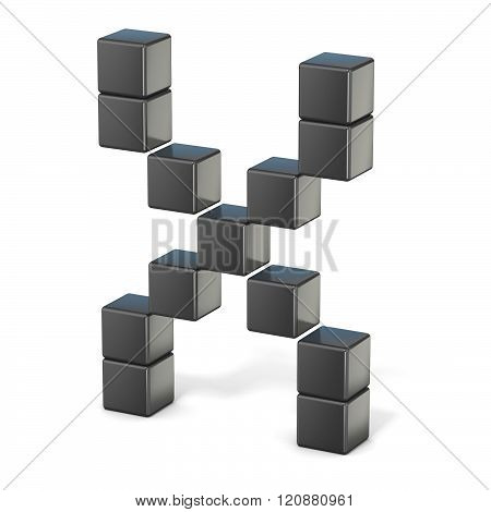 8 bit font. Capital letter X. 3D render illustration isolated on white background