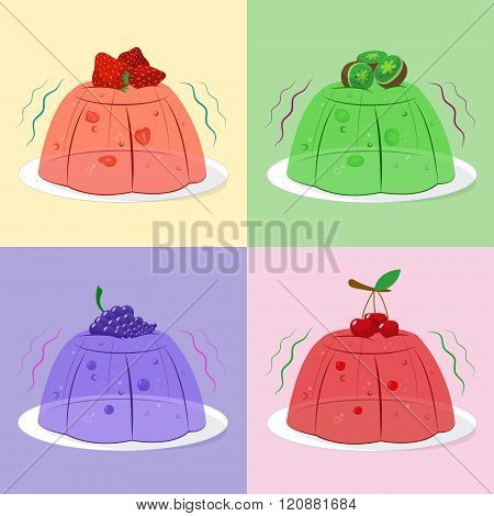 Chill jellies with some berries on and inside
