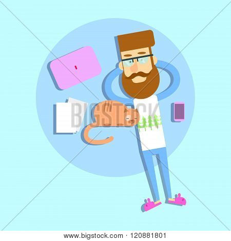 Hipster Man Lying On Bed With Cat Modern Devices Laptop Cell Smart Phone
